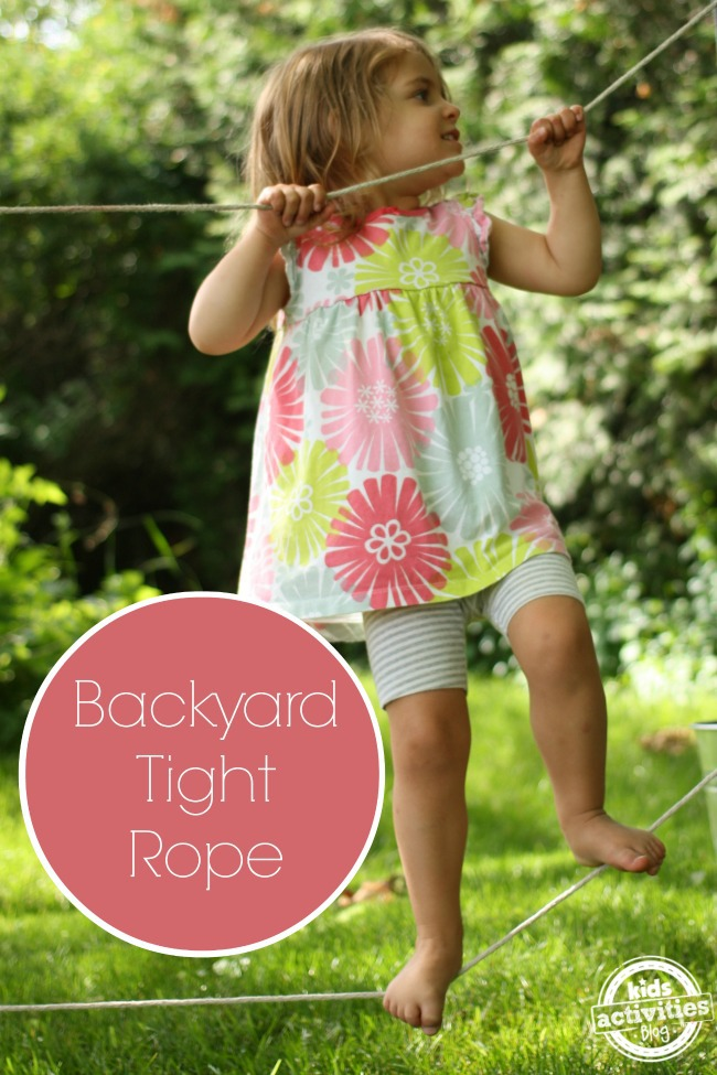 Backyard Tight-Rope activity for kids