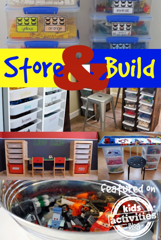 Store and build legos in containers labeled by colors, shelves, and barrels.