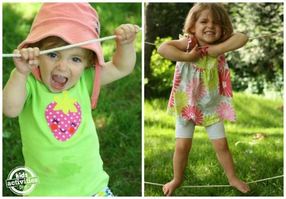 toddler using backyard tight-rope