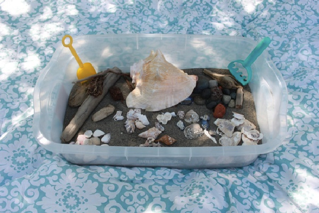 Beach sensory bin, with sand and shells in a plastic bin on a blue tablecloth.