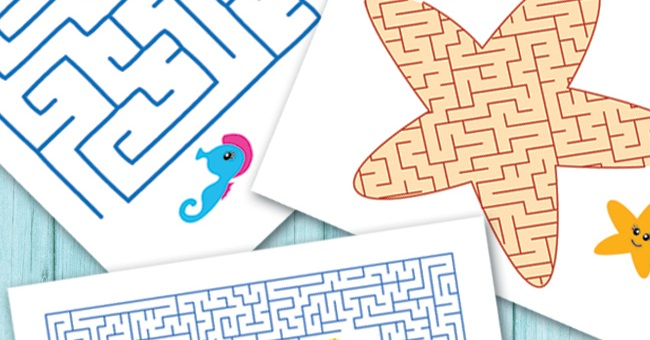 Free Ocean Animals Printable Mazes for Kids