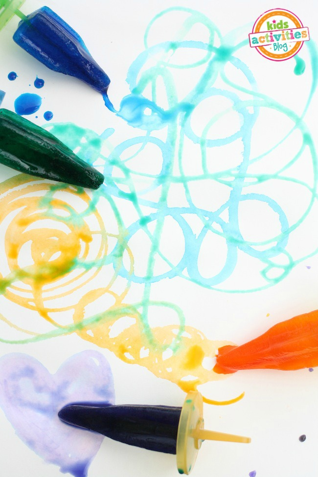 painting with colored ice pops