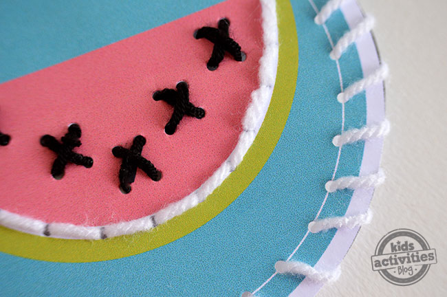 free printable sewing cards - summer cards watermelon