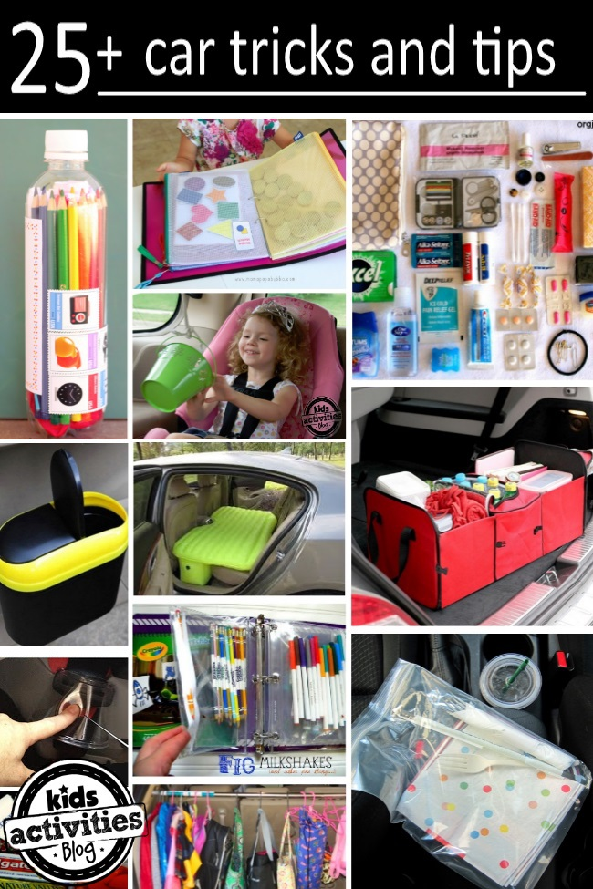 collage of tips for trips in the car with kids