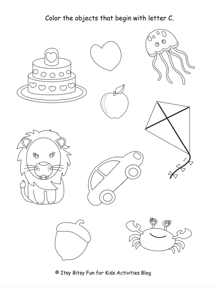 Color the Objects that begin with the letter c worksheet - Kids Activities Blog - pdf shown