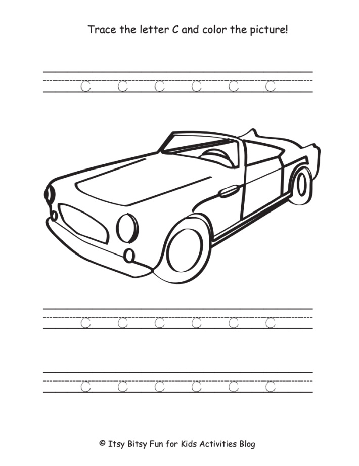 Lowercase Letter C and color the car worksheet - Kids Activities Blog - pdf shown
