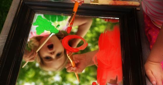 Painting On A Mirror Outdoor Art Activity Kids