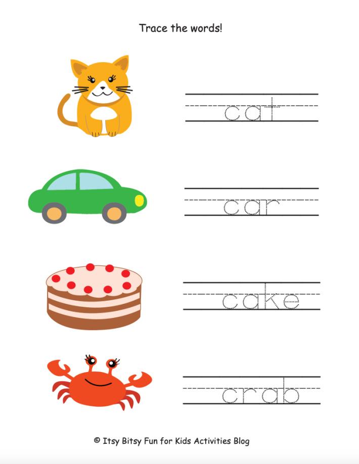Trace the C Words Preschool Worksheet - Kids Activities Blog - pdf shown