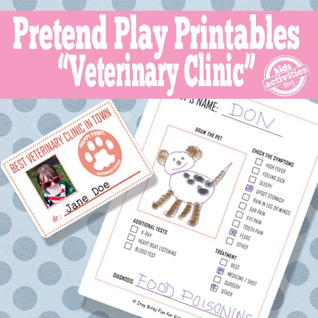 Veterinary Office Pretend Play Free Kids Printable