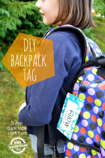 Back to school crafts, DIY duck tape backpack tag