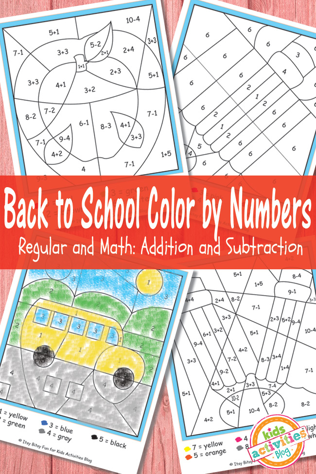 back to school color by numbers free kid printables. Black Bedroom Furniture Sets. Home Design Ideas