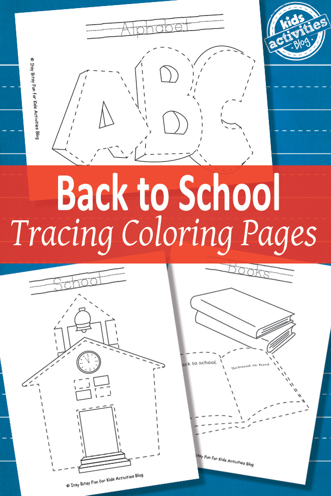 Back To School Tracing Coloring Pages Free Printable