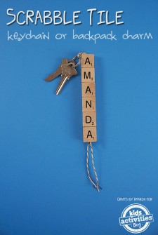 Scrabble Tile Keychain or Backpack Charm