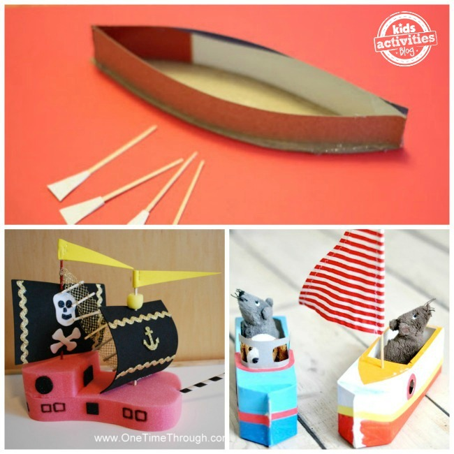 """ cardboard canoe, sponge pirate ship, milk jug sailboats"""