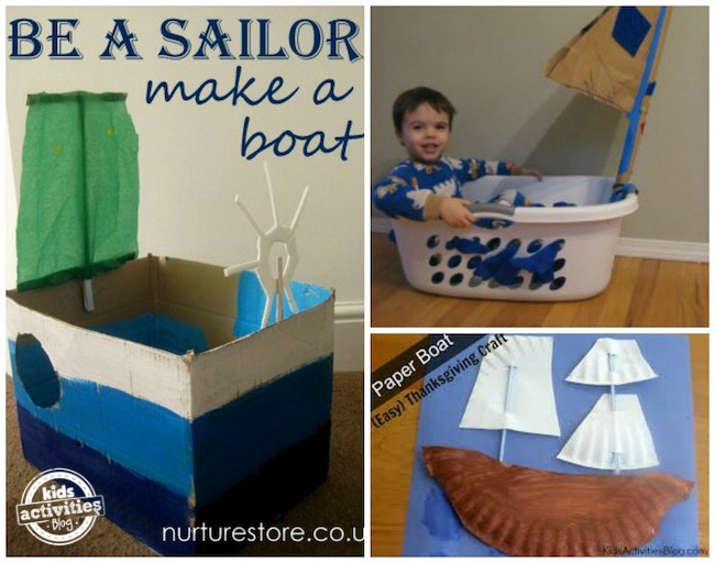 cardboard sailboat, paper plate ship, laundry basket boat
