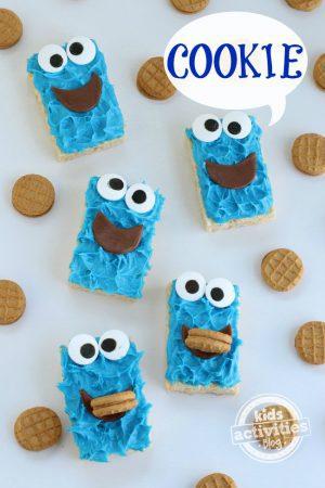 Cookie Monster Rice Krispie Treat