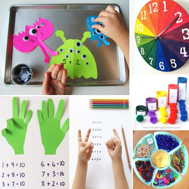 counting activities for preschoolers and other math preschool homeschool curriculum ideas - shown are 6 playful ideas like counting pom poms and earning to read a clock