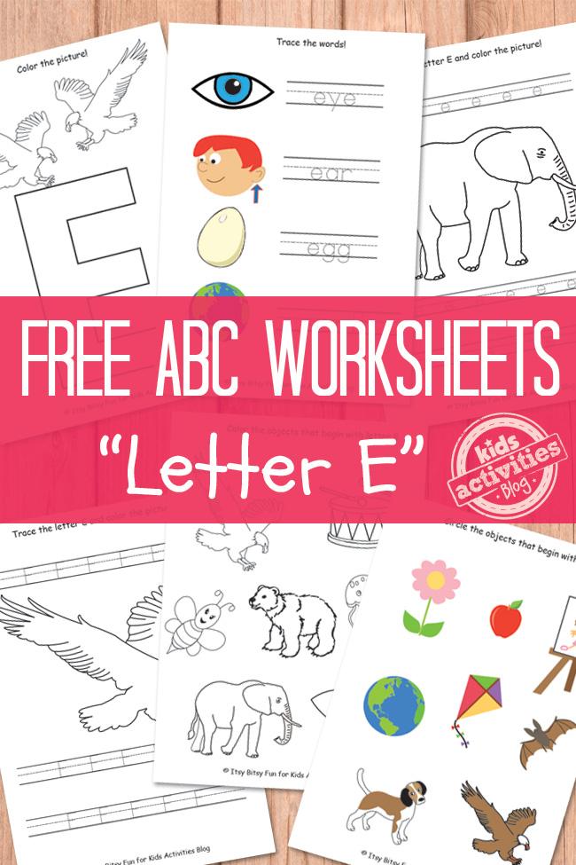 letter e worksheets free kids printable. Black Bedroom Furniture Sets. Home Design Ideas