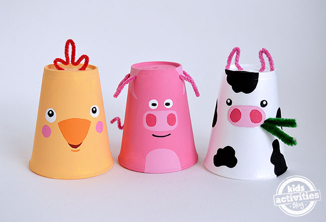 Foam cup crafts farm themed set of 3 - Cups and kids ...