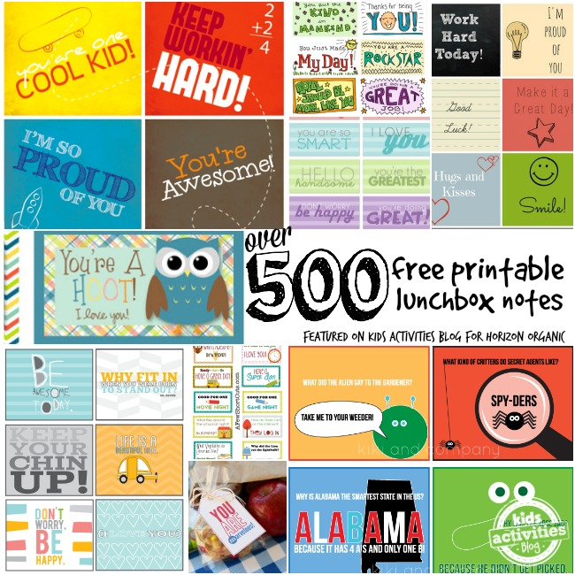 over 500 free printable lunchbox notes featured on kids activities blog for horizon organic