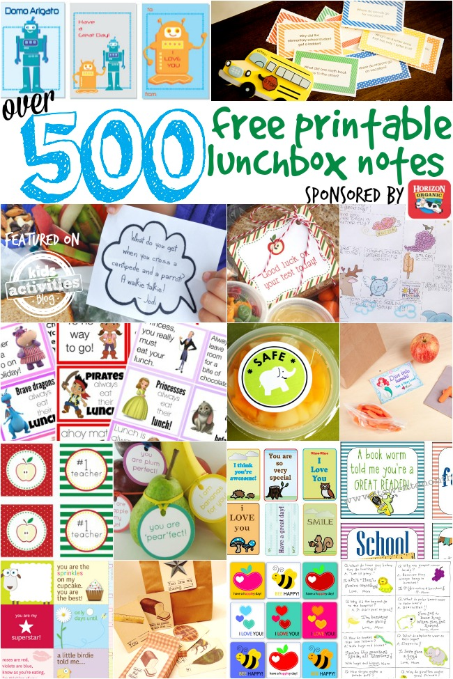 over 500 free printable lunchbox notes sponsored by horizon organic