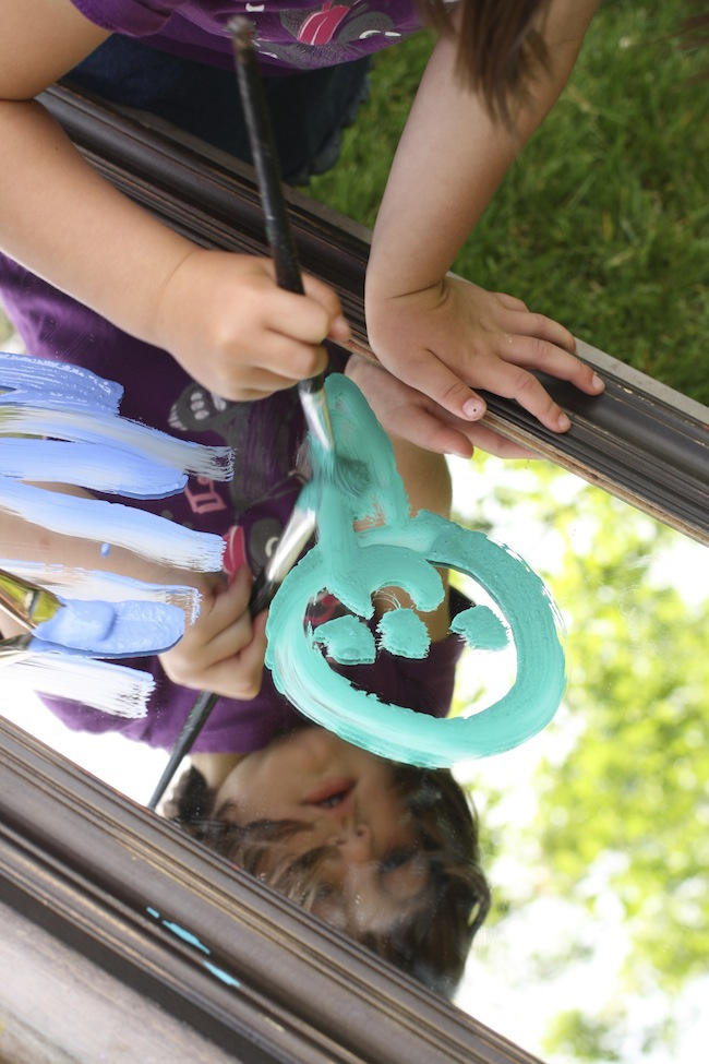 Painting On A Mirror Outdoor Art Activity