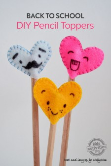 Back To School: Felt Heart Pencil Toppers