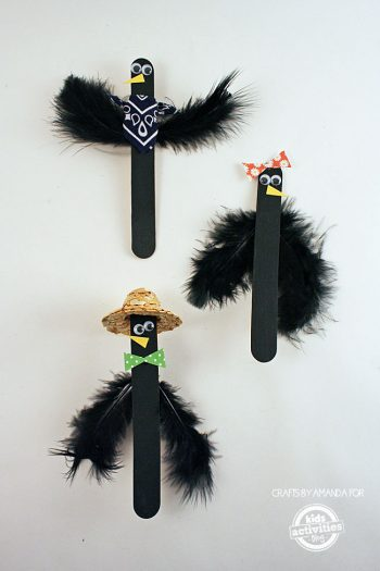 How to Make Craft Stick Crows by Amanda Formaro