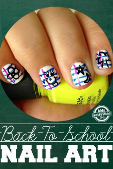 Back To School Notebook Paper Nail Art