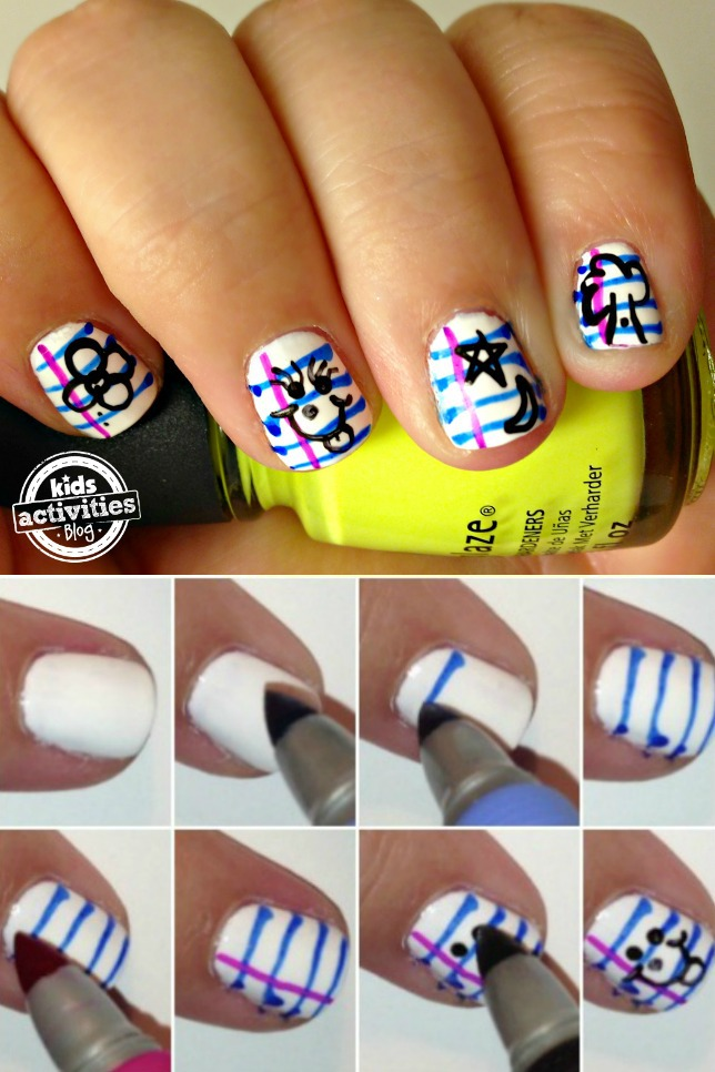 Back To School Notebook Paper Nails