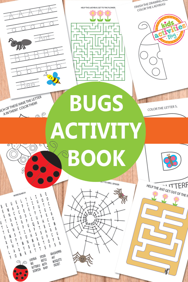 bugs activity sheets - Kids Activity Book Printable