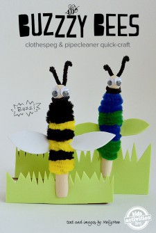 Clothespeg & Pipe Cleaner Bees!! Quick After School Craft For Kids