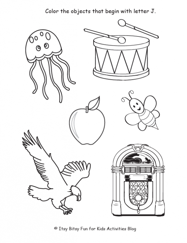 color the objects that begin with letter j