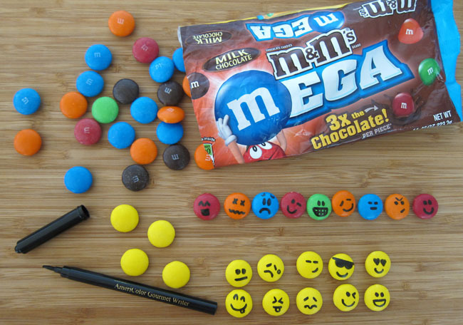 Draw Emoticons on Mega M&M's