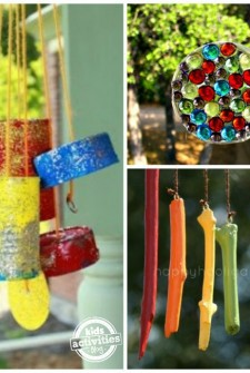 homemade wind chimes and sun catcher