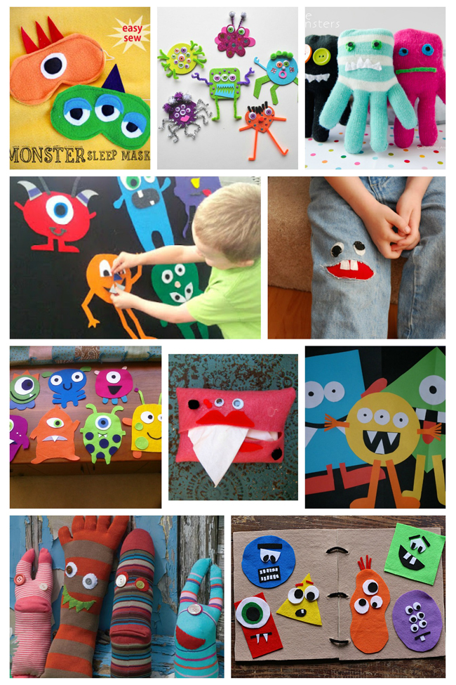 50 monster crafts for kids for any time of year for Monster themed fabric