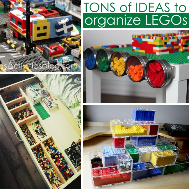 organize legos - lots of ideas for families