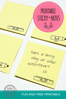 Back To School Free Printable: School Lunch Sticky Notes
