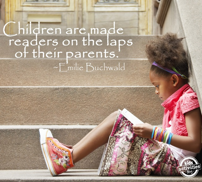 quote about kids learning to read: Children are made readers on the laps of their parents with a girl reading a book next to stairs