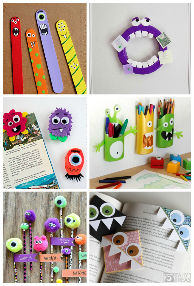Fabric, Felt & Foam Nifty, Thrifty & Thriving made some felt monsters in order to create a banner for her son's birthday. These Glitter Foam Monsters from Crafts by Amanda are perfect for a group activity or a make & take! Who could resist these darling Glove Monsters from Craftaholics Anonymous? Head over to Kix Cereal to learn how to make a monster felt board book from a cereal box! Mix and Match Monsters is a fun activity your kids will love from And Next Comes L Hole in your child's jeans? Make a Monster Jeans Patch from One Artsy Mama Monster Sleep Masks are a fun way to put the kids to bed. From Spoonful Morena's Corner keeps her kids' tissues handy in this Pocket Tissue Monster. A fun way to learn shapes with Shape Monsters from House of Baby Piranha Turn mismatched socks into adorable Sock Monsters from Fave Crafts.