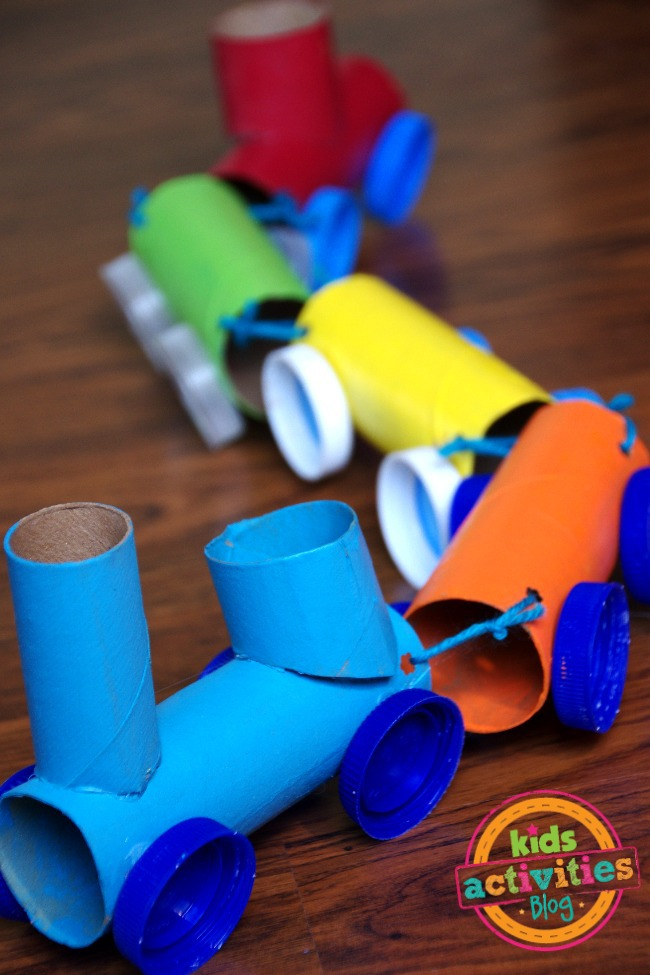 Toilet paper roll train craft for Waste material activity
