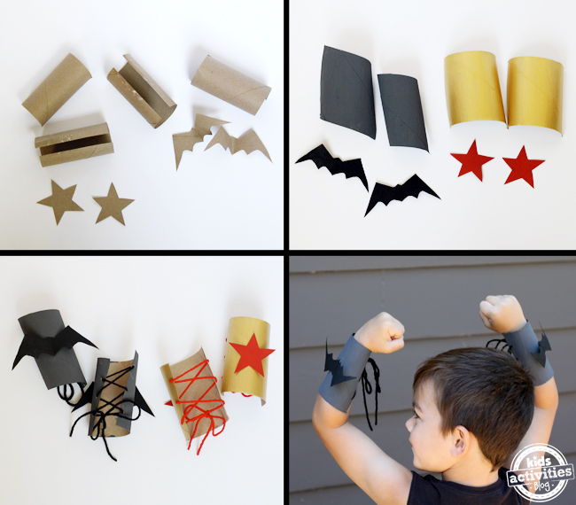 toilet roll superhero cuffs