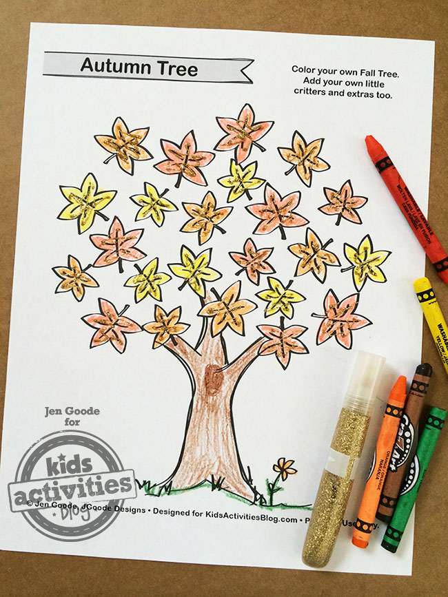 free kids printable fall tree coloring page