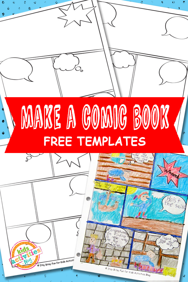 Comic book templates free kids printable for Free online cookbook template