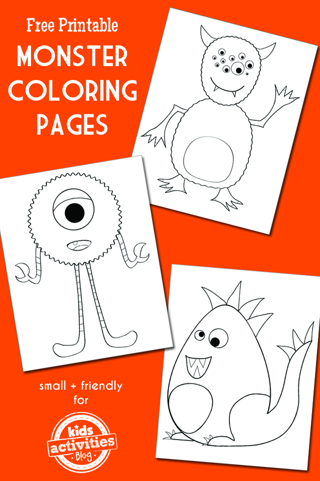 3 cool monster coloring pages this free printable - Free Printable Kids Activities