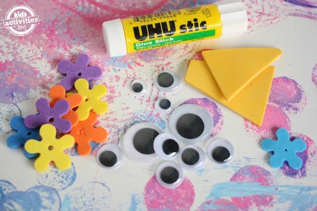 googly eyes, foam shapes, glue stick