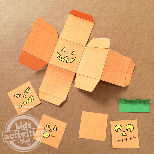 Jack-o-lantern pumpkin block printable template
