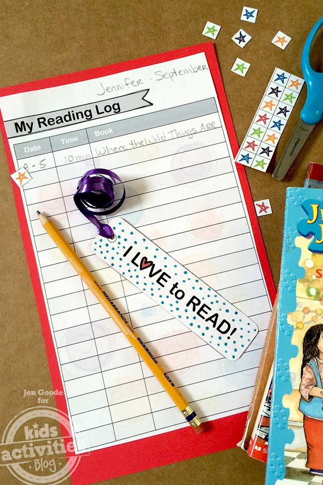 Printable Bookmark and Reading Log designed by Jen Goode