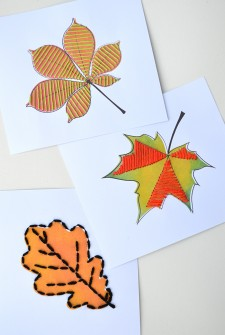 Autumn Leaf Sewing Cards for Play and Learning {free printable}