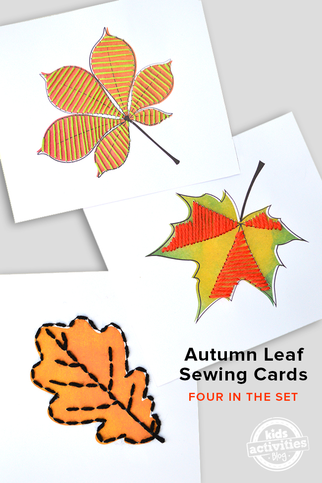 Lace Up Cards for children - autumn leaf sewing cards set of four